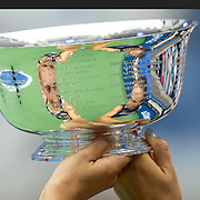 2019 US Open Tennis Tournament- Day Fourteen.  Elise Mertens of Belgium and Aryna Sabalenka of Belarus reflected in the trophy after their victory against Victoria  Azarenka of Belarus and Ashleigh Barty of Australia in the Women's Doubles Final on Arthur Ashe Stadium during the 2019 US Open Tennis Tournament at the USTA Billie Jean King National Tennis Center on September 8th, 2019 in Flushing, Queens, New York City.  (Photo by Tim Clayton/Corbis via Getty Images)