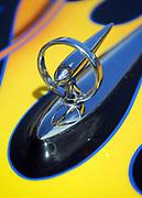 Close up detail of a hood ornament on customised <br /> Hotrod car, Viva Las Vegas Festival, Las Vegas, USA 2006.