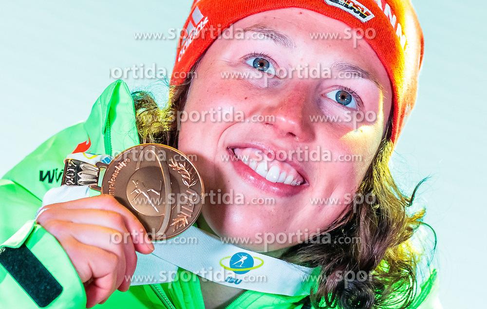 15.02.2017, Medal Plaza, Hochfilzen, AUT, IBU Weltmeisterschaften Biathlon, Hochfilzen 2017, Damen, Einzel, Siegerehrung, im Bild Goldmedaillengewinnerin Laura Dahlmeier (GER) // Winner and 3rd time World Champion Laura Dahlmeier of Germany during Winner Award Ceremony of the individual women the IBU Biathlon World Championship at the at the Medal Plaza in Hochfilzen, Austria on 2017/02/15. EXPA Pictures © 2017, PhotoCredit: EXPA/ JFK