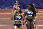 Feb 11, 2017; New York, NY, USA; Dezerea Bryant (USA) reacts after winning the women's 60m in 7.12 during the 110th Millrose Games at The Armory.