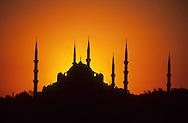 Turkey. Istanbul. mosque of the old city on golden corn ,/  Les mosquees de la vielle ville, Istamboul, Turquie    Mediteranee