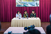 26 MAY 2014 - BANGKOK, THAILAND:   Thai military officers, including Col Winthai Sivari (center) and Col Werachon Sukhondhadhpatipak (right) talk to the media about the coup that deposed the elected civilian government. About two thousand people protested against the coup in Bangkok. It was the third straight day of large pro-democracy rallies in the Thai capital as the army continued to tighten its grip on Thai life.    PHOTO BY JACK KURTZ