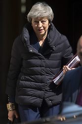 May 1, 2019 - London, London, UK - London, UK. British Prime Minister Theresa May leaves 10 Downing Street for the Prime Minister's Questions in the House of Commons. (Credit Image: © Ray Tang/London News Pictures via ZUMA Wire)