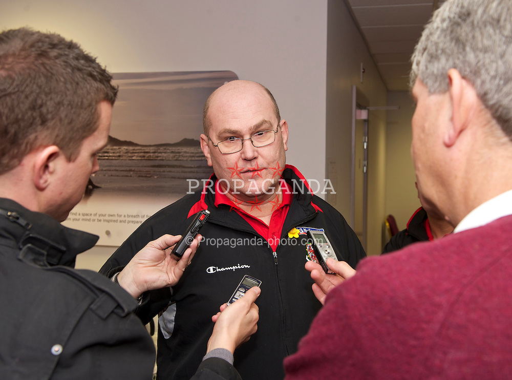 SWANSEA, WALES - Monday, March 1, 2010: Wales' Medical Officer Doctor Mark Ridgewell speaks to the press about the injury to Aaron Ramsey ahead of the international friendly match against Sweden. (Photo by David Rawcliffe/Propaganda)