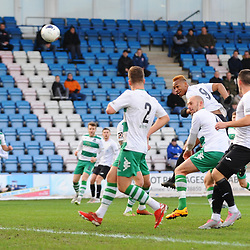 TELFORD COPYRIGHT MIKE SHERIDAN Marcus Dinanga of Telford crashes a header against the crossbar during the Vanarama Conference North fixture between AFC Telford and Farsley Celtic at the New Bucks head Stadium on Saturday, December 7, 2019.<br /> <br /> Picture credit: Mike Sheridan/Ultrapress<br /> <br /> MS201920-033