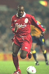 Liverpool, England - Wednesday, November 27th, 1996: Liverpool's Michael Thomas in action during the 4-2 victory over Arsenal during the 4th Round of the League Cup at Anfield. (Pic by David Rawcliffe/Propaganda)