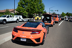 The Rally Cycling Team car fleet is ready for Stage 1 of the Amgen Tour of California - a 124 km road race, starting and finishing in Elk Grove on May 17, 2018, in California, United States. (Photo by Balint Hamvas/Velofocus.com)