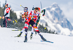 02.03.2019, Seefeld, AUT, FIS Weltmeisterschaften Ski Nordisch, Seefeld 2019, Nordische Kombination, Langlauf, Team Bewerb 4x5 km, im Bild v.l. Lukas Klapfer (AUT), Jarl Magnus Riiber (NOR) // f.l. Lukas Klapfer of Austria and Jarl Magnus Riiber of Norway during the Cross Country Team competition 4x5 km of Nordic Combined for the FIS Nordic Ski World Championships 2019. Seefeld, Austria on 2019/03/02. EXPA Pictures © 2019, PhotoCredit: EXPA/ Stefan Adelsberger
