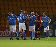 06/10/2017 - St Johnstone v Dundee - Dave Mackay testimonial at McDiarmid Park, Perth, Picture by David Young - Dave Mackay is congraulated after scoring from the penalty spot