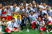 Portugal win the Nations League and celebrate with the trophy during the UEFA Nations League match between Portugal and Netherlands at Estadio do Dragao, Porto, Portugal on 9 June 2019.