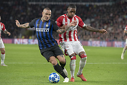 October 4, 2018 - Eindhoven, Netherlands - Radja Nainggolan of Inter and Pablo Rosario of PSV during the UEFA Champions League Group B match between PSV Eindhoven and FC Internazionale Milano at Philips Stadium in Eindhoven, Holland on October 3, 2018  (Credit Image: © Andrew Surma/NurPhoto/ZUMA Press)
