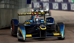 E.dams Renault driver Sebastien Buemi on his way to victory during the Visa London ePrix at Battersea Park, London.