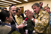 A British Military spokesman gives reporters his spin on the first day of the 2003 invasion of Iraq by US and UK coalition forces.  Kuwait..