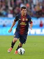 FUSSBALL  INTERNATIONAL Testspiel 2012/2013  08.08.2012 Manchester United  - FC Barcelona  Lionel Messi (Barca) am Ball