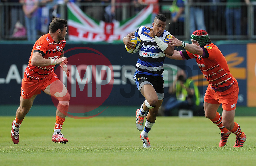 Bath Full Back Anthony Watson gets tackled by Leicester Tigers Marcos Ayerza - Photo mandatory by-line: Alex James/JMP - Mobile: 07966 386802 - 23/05/2015 - SPORT - Rugby - Bath - Recreation Ground - Bath v Leicester Tigers - Aviva Premiership Rugby semi-final