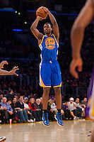 09 November 2012: Forward (40) Harrison Barnes of the Golden State Warriors shoots the ball against the Los Angeles Lakers during the first half of the Lakers 101-77 victory over the Warriors at the STAPLES Center in Los Angeles, CA.