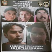 Toluca, México.- La Secretaria de Seguridad Ciudadana informo sobre la detención de presuntos secuestradores que operaban en el municipio de Otzolotepec.  Agencia MVT / Crisanta Espinosa