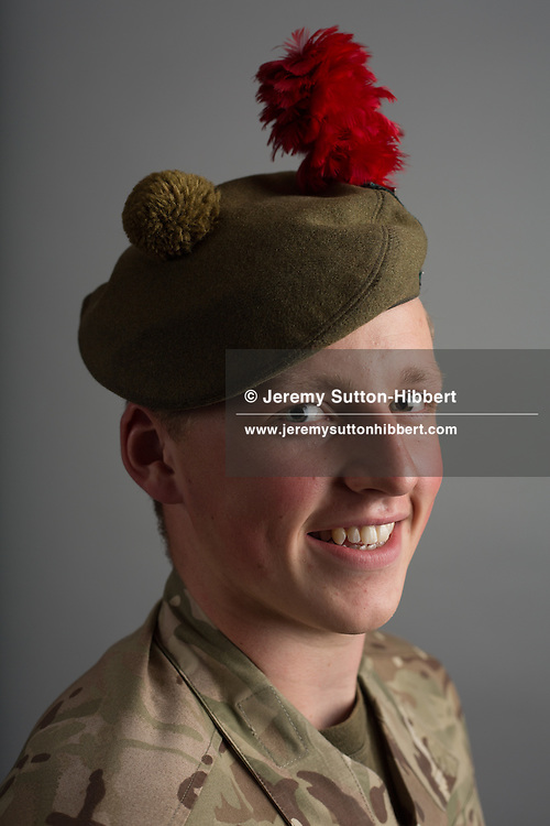 Staff Sergeant Cameron Keith, Forfar Black Watch detachment army cadet force Angus and Dundee battalion, in Scotland, on 11 August 2016.