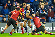 Douglas Fife (#15) of Edinburgh Rugby is tackled by Cyril-John Velleman (#6) and Alandre Van Rooyen (#2) of Isuzu Southern Kingsduring the Guinness Pro 14 2018_19 rugby match between Edinburgh Rugby and Isuzu Southern Kings at the BT Murrayfield Stadium, Edinburgh, Scotland on 5 January 2019.