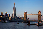A view of The Shard and Tower Bridge overlooking the River Thames on a clear day in London, United Kingdom. The bridge is crossed by over 40,000 people every day. (photo by Andrew Aitchison / In pictures via Getty Images)