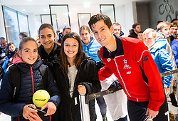 Aljaz Bedene of Slovenia with fans after the friendly football match between NK Fantazisti (SLO) and 1st TFC - First Tennis & Football Club (AUT) presented by professional and former tennis players, on November 25, 2017 in Nacionalni nogometni center Brdo pri Kranju, Slovenia. Photo by Vid Ponikvar / Sportida