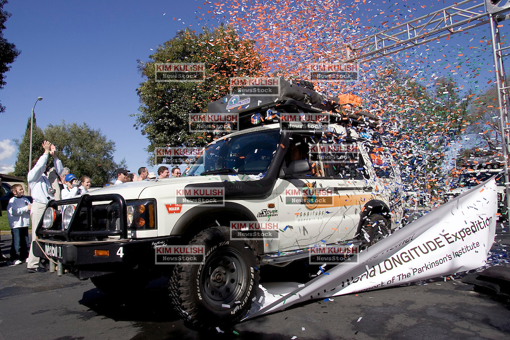 Sixteen months, 30 countries, and 41,000 miles later, the Drive Around the World LONGITUDE Expedition crosses the finish line of the global expedition to raise awareness and funds for The Parkinson's Institute. The Expedition, which featured six Bay Area residents, left The Parkinson's Institute in four Land Rover Certified Pre-Owned Discovery SUVs back in November 2003. They returned to the Parkinson's Institute this morning to the cheers of staff, well-wishers and sponsors. Along the way, The Drive Around the World team travelled through Central and South America, Australia and Asia. They even met the Dalai Lama in India. Photo by Kim Kulish