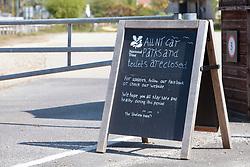 Coronavirus lockdown, Dorset UK April 2020.  Studland Bay National Trust carpark closed