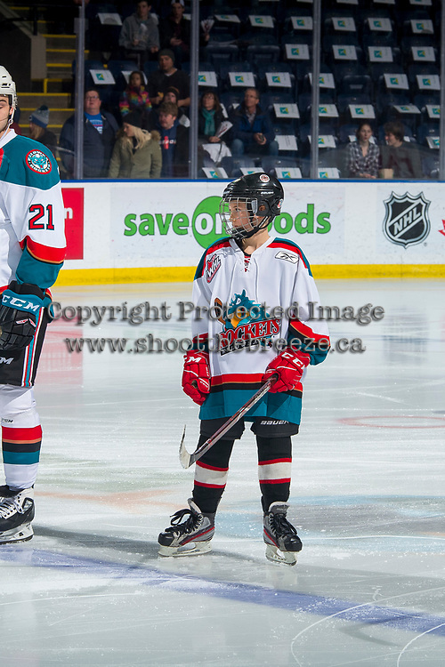 KELOWNA, CANADA - FEBRUARY 2:  The Pepsi Player of the game lines up on the blue line with the Kelowna Rockets against the Kamloops Blazers on February 2, 2019 at Prospera Place in Kelowna, British Columbia, Canada.  (Photo by Marissa Baecker/Shoot the Breeze)