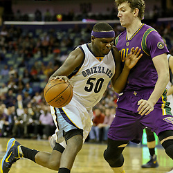 Feb 1, 2016; New Orleans, LA, USA; Memphis Grizzlies forward Zach Randolph (50) drives past New Orleans Pelicans center Omer Asik (3) during the second quarter of a game at the Smoothie King Center. Mandatory Credit: Derick E. Hingle-USA TODAY Sports