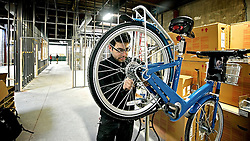 Stable, very non-cyclist friendly set-up is how avid cyclist and Head Mechanic Jake Siemiarowski describes the Indigo bike. (Bastiaan Slabbers/for NewsWorks)