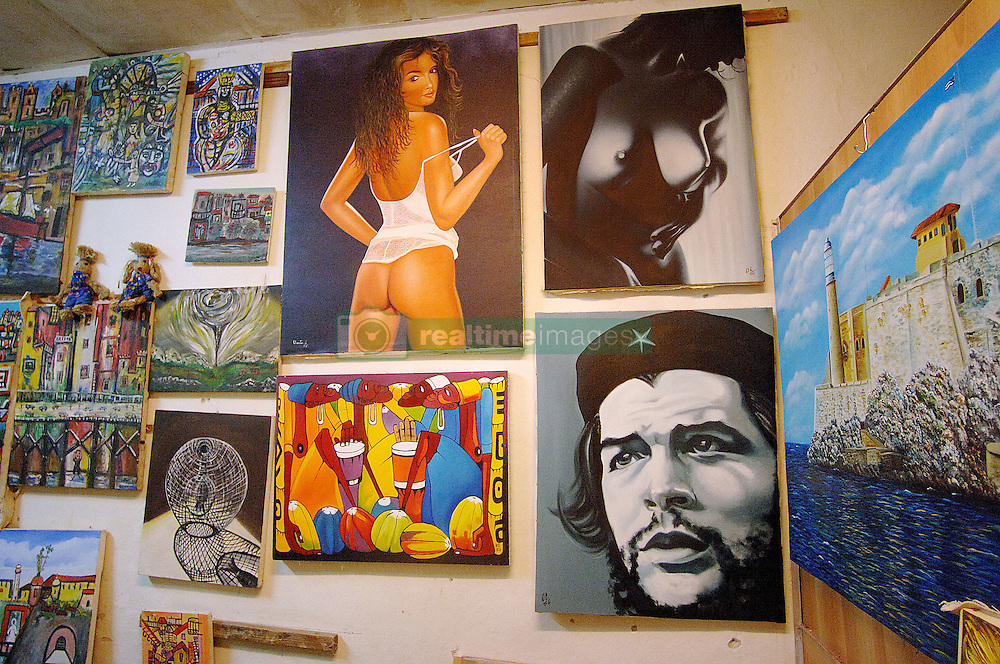 Inside view of a shop selling posters and paintings in Havana, Cuba, on August 8, 2006, one week after an ailing Fidel Castro handed his brother Raul provisional control over the government which he has led uninterrupted for 47 years. Cuban citizens are waiting to find out if the 'Lider Maximo' will resume leadership after his recovery from an intestinal surgery. Photo by ABACAPRESS.COM | 103285_05