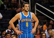 Jan. 30, 2011; Phoenix, AZ, USA; New Orleans Hornets guard Marco Belinelli (8) reacts on the court against the Phoenix Suns at the US Airways Center. The Suns defeated the Hornets 104-102.  Mandatory Credit: Jennifer Stewart-US PRESSWIRE
