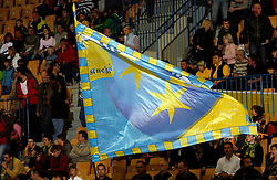 Flag of city Celje at handball game RK Celje Pivovarna Lasko  - SC Magdeburg in the semifinal of EHF 2007 Men`s Champions Trophy, on October 20, 2007 in Zlatorog Hall, Celje, Slovenia.   (Photo by Vid Ponikvar / Sportal Images).