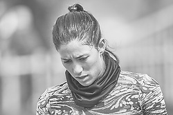 April 21, 2018 - La Manga, Murcia, Spain - (EDITORS  NOTE: the image has been converted to black and white) Garbine Muguruza of Spain looks on during training during day one of the Fedcup World Group II Play-offs match between Spain and Paraguay at Centro de Tenis La Manga Club on April 21, 2018 in La Manga, Spain  (Credit Image: © David Aliaga/NurPhoto via ZUMA Press)