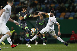 December 13, 2018 - Lisbon, Portugal - Fredy Montero of Sporting (L) vies for the ball with Ardin Dallku of Vorskla (R)  during UEFA Europa League football match between Sporting CP vs Vorskla, in Lisbon, on December 13, 2018. (Credit Image: © Carlos Palma/NurPhoto via ZUMA Press)