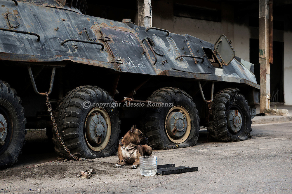 Libya, Misurata: dismissed armoured personnel carrier in a military base in Misurata. Alessio Romenzi