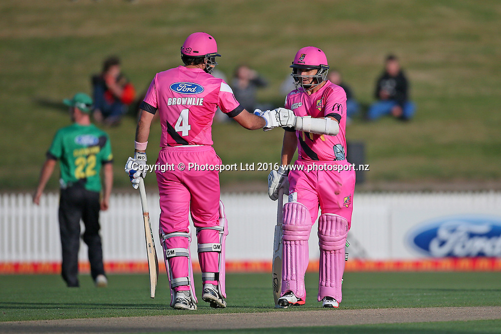 Knights captain Dean Brownlie and Knights' BJ Watling during the McDonalds Super Smash T20 cricket match - Knights v Stags played at Seddon Park, Hamilton, New Zealand on Friday 23 December.<br /> <br /> Copyright photo: Bruce Lim / www.photosport.nz