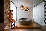 Award winning bathroom designer Jasmine McClelland<br /> and the bathroom she designed for Vicky Tsaganas. Photo By Craig Sillitoe for Home Style. 28/02/2014