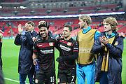 Bayer Leverkusen striker Javier Hernandez (7) and Bayer Leverkusen defender Wendell (18) celebrate win during the Champions League match between Tottenham Hotspur and Bayer Leverkusen at Wembley Stadium, London, England on 2 November 2016. Photo by Matthew Redman.