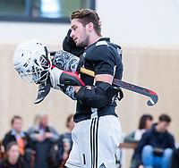 DELFT -  Keeper Youri Beck (Almere) tijdens de zaalhockey hoofdklasse competitiewedstrijd Oranje Rood-Almere . COPYRIGHT KOEN SUYK