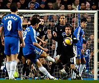 Photo: Ed Godden/Sportsbeat Images.<br />Chelsea v Wigan Athletic. The Barclays Premiership. 13/01/2007. Chelsea's Michael Ballack has his free kick blocked by the Wigan defence.