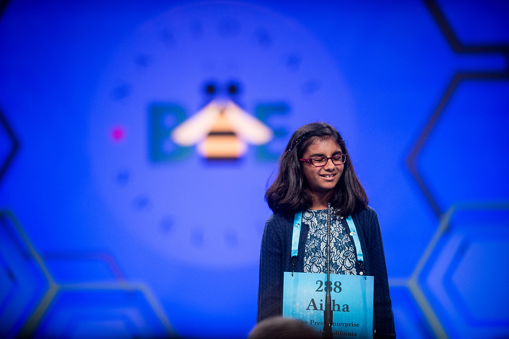 Aisha Randhawa, 11, from Corona, Calif., participates in the finals of the 2017 Scripps National Spelling Bee on Thursday, June 1, 2017 at the Gaylord National Resort and Convention Center at National Harbor in Oxon Hill, Md.      Photo by Pete Marovich/UPI