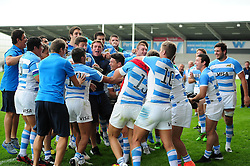 Argentina U20 players celebrate after the match - Mandatory byline: Patrick Khachfe/JMP - 07966 386802 - 25/06/2016 - RUGBY UNION - AJ Bell Stadium - Manchester, England - Argentina U20 v South Africa U20 - World Rugby U20 Championship 2016 3rd Place Play-Off.