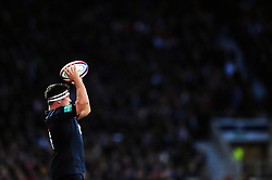 Jamie George of England looks to throw into a lineout - Mandatory byline: Patrick Khachfe/JMP - 07966 386802 - 19/11/2016 - RUGBY UNION - Twickenham Stadium - London, England - England v Fiji - Old Mutual Wealth Series.