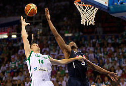 Gasper Vidmar of Slovenia vs Rudy Gay of USA during to the Preliminary Round - Group B basketball match between National teams of USA and Slovenia at 2010 FIBA World Championships on August 29, 2010 at Abdi Ipekci Arena in Istanbul, Turkey.  (Photo by Vid Ponikvar / Sportida)