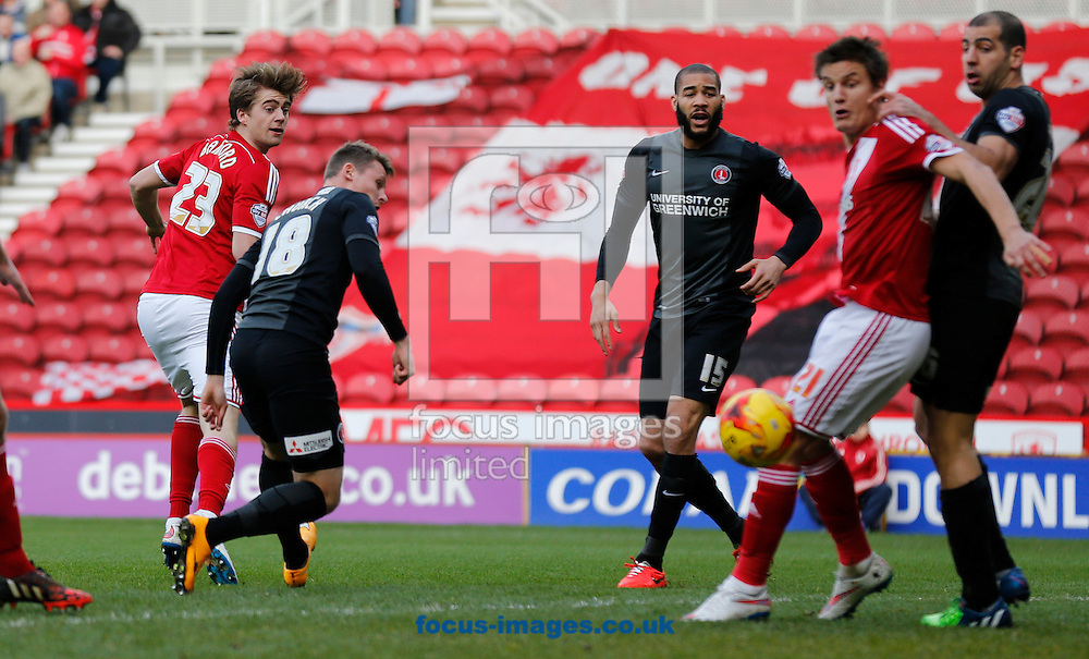 Patrick Bamford (l) of Middlesbrough scores the opening goal during the Sky Bet Championship match at the Riverside Stadium, Middlesbrough<br /> Picture by Simon Moore/Focus Images Ltd 07807 671782<br /> 07/02/2015