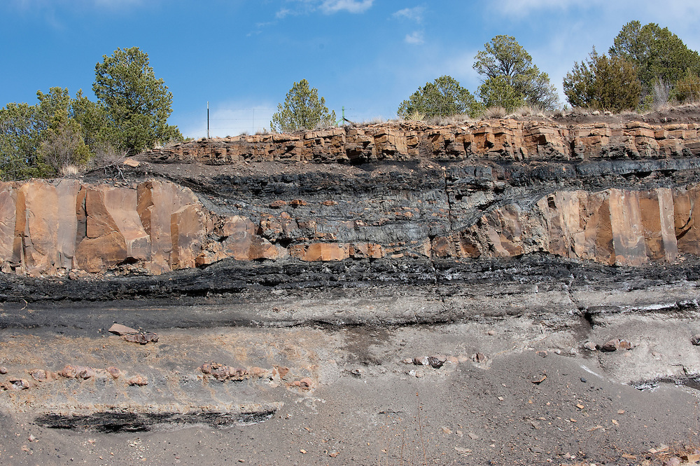 An igneous  sill intruded in  coal beds in the Late Cretaceous Vermejo Formation, near Trinidad, Colorado