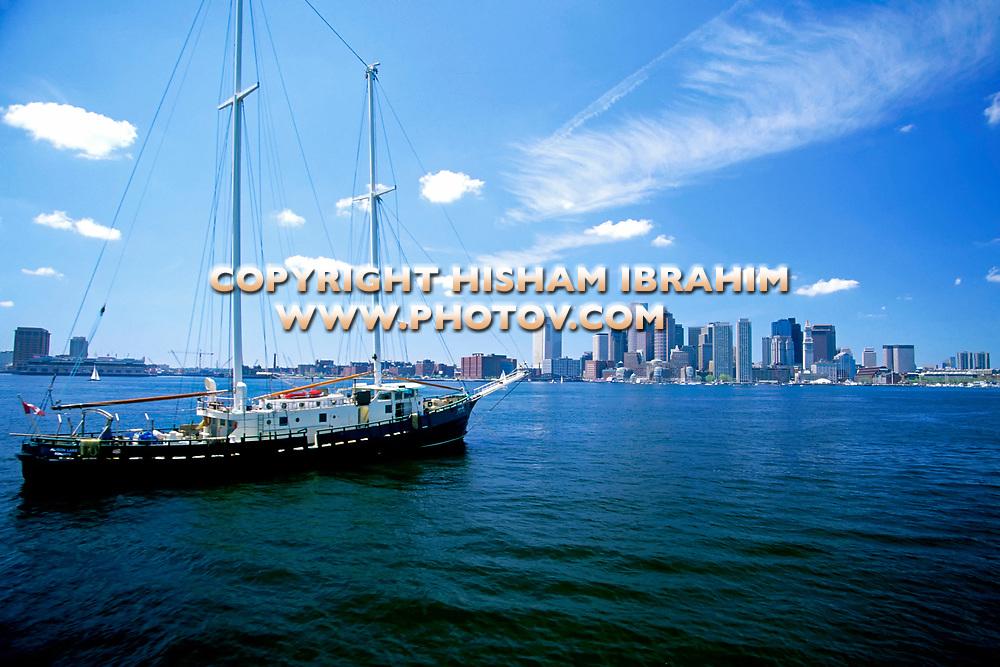 Boston skyline, Boston Harbour and sailboat, Boston, Massachusetts, USA