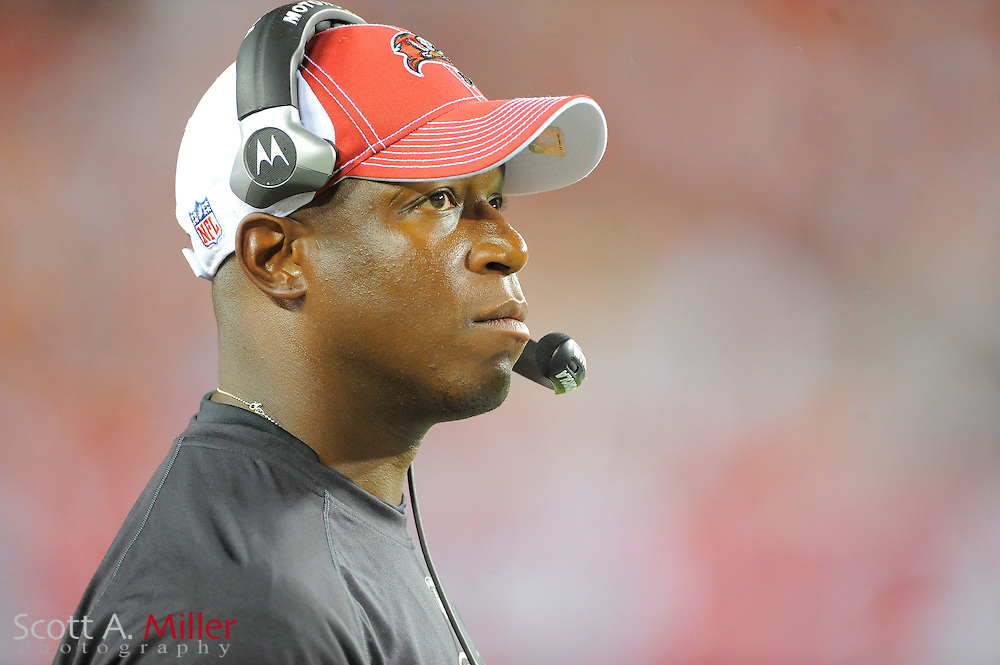 Tampa Bay Buccaneers head coach Raheem Morris during the Bucs game against the New England Patriots at Raymond James Stadium on Aug. 18, 2011 in Tampa, Fla...©2011 Scott A. Miller.