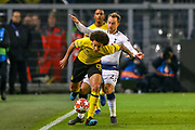 Tottenham Hotspur midfielder Christian Eriksen (23) challenges Borussia Dortmund midfielder Axel Witsel (28) during the Champions League round of 16, leg 2 of 2 match between Borussia Dortmund and Tottenham Hotspur at Signal Iduna Park, Dortmund, Germany on 5 March 2019.
